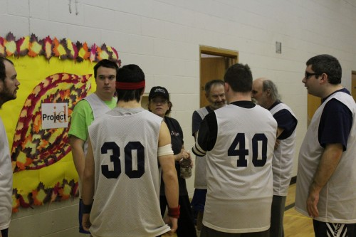 Team huddle at basketball practice